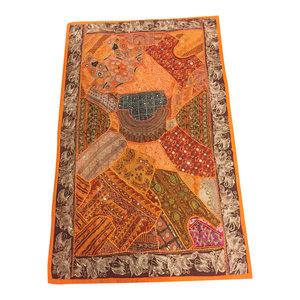 Mogulinterior - Mogul Banjara Tapestry Handmade Beaded Patchwork Orange Table Runner Throw - Tapestries