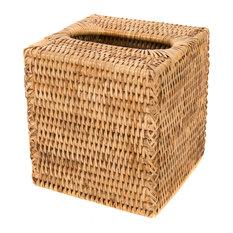 Artifacts Rattan Column Tissue Box, Honey Brown