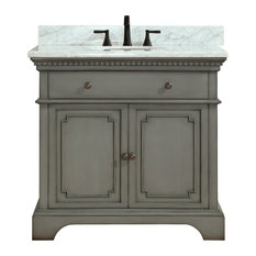"""Avanity Hastings Vanity With Carrera White Marble Top, French Gray, 37"""""""