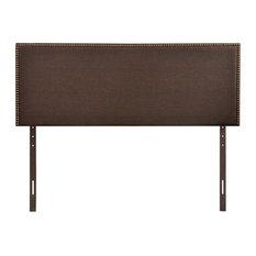 Region Queen Nailhead Upholstered Headboard Dark Brown
