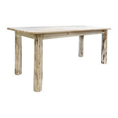 Montana Log Collection Wood Dining Table In Clear Lacquer Finish MWDT4PV