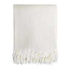 Home Decor Faux Cashmere Soft Cozy Throw Blanket, Ivory