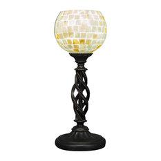 """Elegant� Mini Table Lamp Bronze Finish W/6"""" Mystic Seashell Glass (61-DG-405)"""
