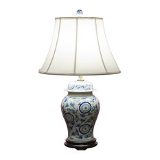 China Furniture And Arts   Blue And White Porcelain Ginger Jar Lamp With  Silk Shade