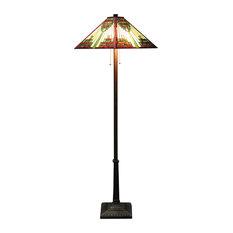 """Warehouse of Tiffany Zapanta 2 Light Red Tiffany Style 25"""" Floor Lamp"""