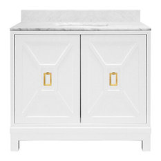 Worlds Away Joanne Bath Vanity White Lacquer Brass Hardware