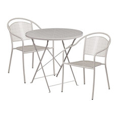 Westbury 3-Piece Table Set Round 30'' Light Gray Folding With 2 Round Chairs
