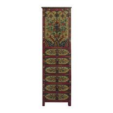 Chinese Tibetan Flower Graphic Tall Slim Multi Drawers Cabinet Hcs3941