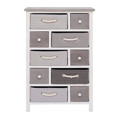 Contemporary Chest of Drawers in Paulownia Wood with 10 Storage Drawers