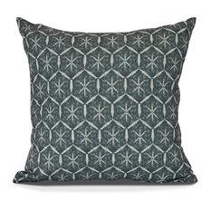 "Tufted, Geometric Print Outdoor Pillow, Green, 18"" x 18"""