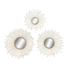 Aster 3-Piece Metal and Mirror Wall Decor Set