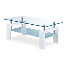Global Furniture USA   Glass Coffee Table Glossy, Glossy White Legs And  Frosted Shelf
