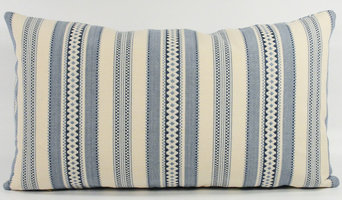 Blue and Off-White Lumbar Pillow with Feather/Down Insert