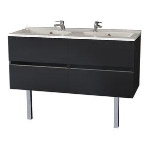 Rosaly Double Bathroom Vanity Unit, 120 cm, Grey With Legs