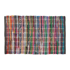 "Bathroom Rug 35""x24"" Sealskin Madras Multicolor Cotton"