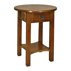 Traditional Side End Table With Solid Ash Top And Oak Veneers Russet Finish