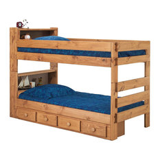 Chelsea Home Twin Over Twin Bookcase Bunk Bed in Ginger Stain