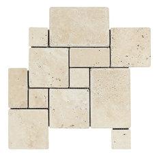 Ivory Opus Mini Pattern Mosaic, Interlocking, Tumbled Mosaic Tiles, 10 Sqft