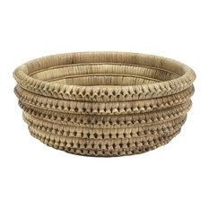 Natural Rattan Large Centerpiece Bowl, Braided Round Decorative Basket Coastal
