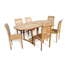 """Grade A Teak, 82"""", Oval Extension Table , 6 Designer Stacking Chairs"""