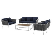 Modern Outdoor Lounge Chair, Sofa and Table Set, Fabric Aluminium, White Navy
