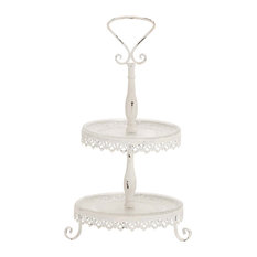 GwG Outlet - Traditional, Lovely Inspired Heavenly Metal Glass 2 Tier Tray Home Decor - Dessert and Cake Stands