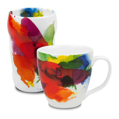 "Set of 2 Mugs ""On Color!"" Double-Walled Grip Mug and Mug"