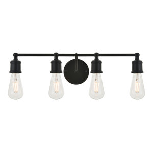 Black Finish 4-Light Wall Sconce