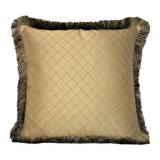 """Solid Gold Silk Textured Pillow With Fringe, 26""""x26"""""""