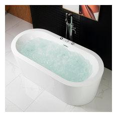 "Woodbridge 67"" Deluxe Whirlpool & Air Bubble Freestanding Bathtub"