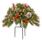 "National Tree Company - 18"" Frosted Berry Urn Filler With Battery Operated Warm White LED Lights - Designed for filling decorative urns and pots, this spray of evergreen branch tips is trimmed with white-tipped pine cones and red berries. It is pre-lit with 35 battery-operated warm white LED lights that are energy-efficient and long lasting. 6 hours ON/18 hours OFF timed operation. Included is a 3-prong metal stake for propping up the filler in an empty container or for inserting into soil. For indoor or covered outdoor display."