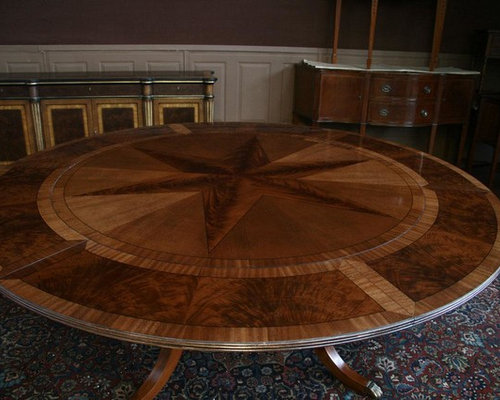 Round Mahogany Pedestal Dining Table With Expandable Perimeter (AP 11 X NP)    Dining