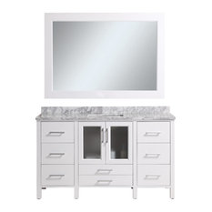 """Stanton 60"""" Single Sink Vanity Set With Marble Top, White and Mirror"""