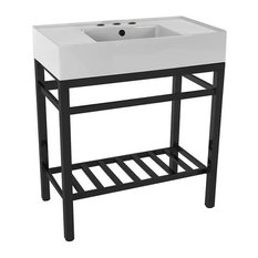 Modern Ceramic Console Sink With Counter Space And Matte Black Base Three Hole