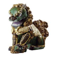 Lladro Oriental Lioness Green Figurine