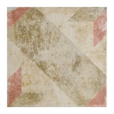 """Campania Star Porcelain Floor/Wall Tiles, Set of 16, Red, 9.75""""x9.75"""""""