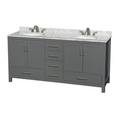 "Sheffield 72"" Dark Gray Double Vanity, White Carrera Marble, Undermount Round"
