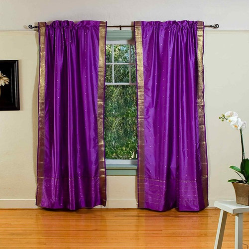 Rod Pocket Sari Curtains, Sari Panels, Sari Drapes   Curtains