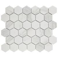 "11.06""x12.8"" Glazed Porcelain Mosaic Barcelona Hexagon Carrara Marble, Set of 10"