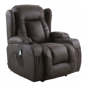Modern Electric Recliner in Bonded Leather with Cup Holder, Brown