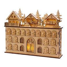 "Kurt S. Adler, Inc. - 13"" LED Wooden Advent Calendar Decoration - Holiday Accents and Figurines"