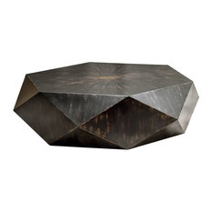 Faceted Large Round Wood Coffee Table, Modern Geometric Block Solid