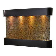 Sunrise Springs Wall Fountain, Blackened Copper, Multi Color Slate, Round Frame
