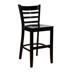 Ladderback Counter Stool Black With Wood Seat