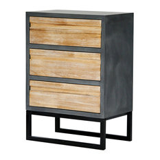 Nova 3-Drawer Accent Chest, Gray With Distressed Wood