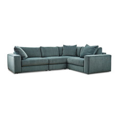 Scandinavian Designs   Adrian Modular Sectional, Linus Teal, Full Sectional    Sectional Sofas