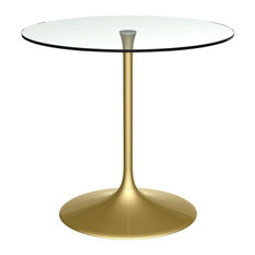 Swan Dining Table, Clear Glass, Brass Base, Small