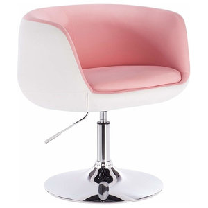 Modern Swivel Bar Stool Upholstered, High Back and Armrest, Rose and White