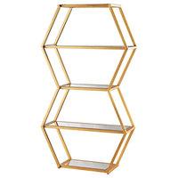 Vanguard Book Shelf, Gold Leaf and Clear Mirror