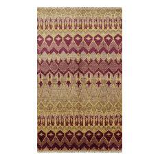 "Wool Oriental Hand-KnottedModern Ikat Rug, 4'10""x8'3"""